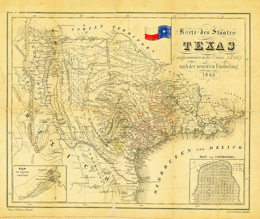 1849 Texas Map Photograph - 1849 Texas Map by Bill Cannon