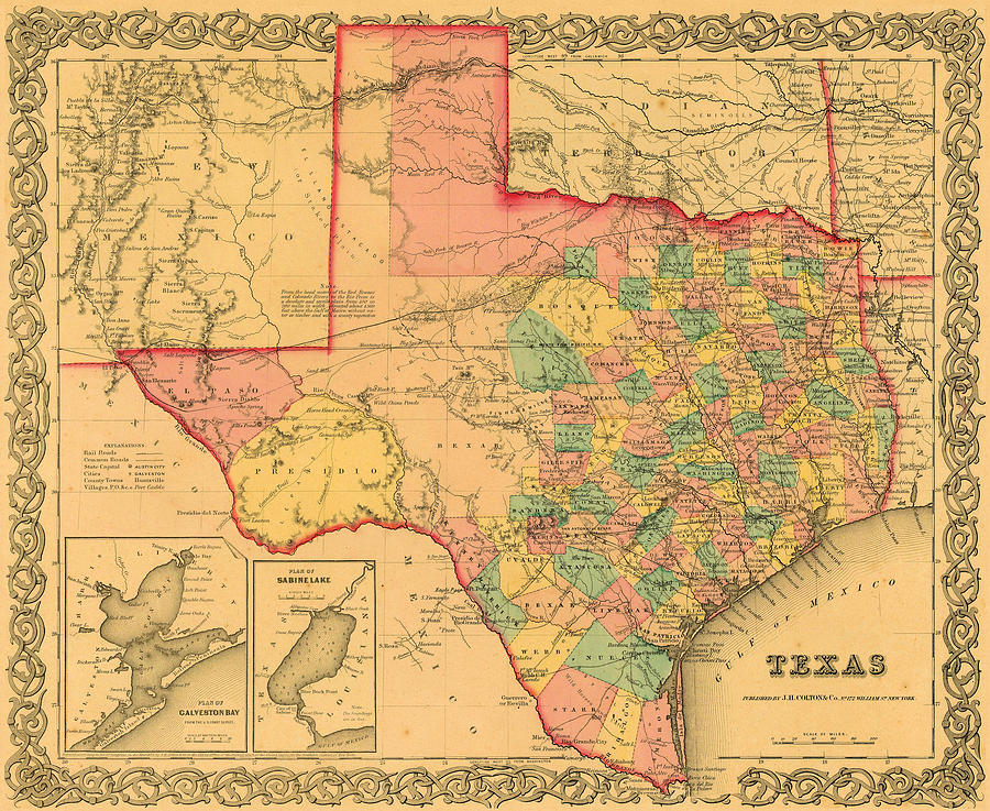 1855 Texas County Map By Jh Colton Digital Art by Texas Map Store