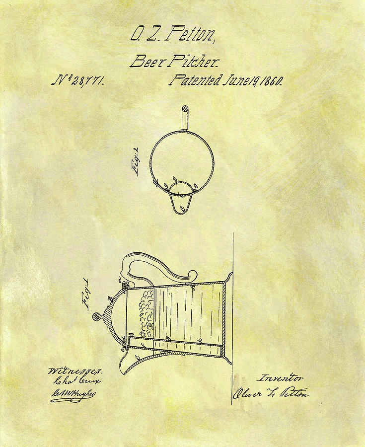 1860 Beer Pitcher Patent Drawing