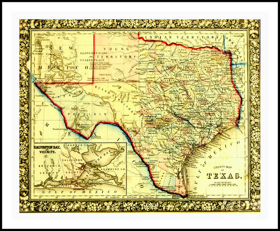 1860 Civil War Era County Map Of Indian Territories Texas And ... on