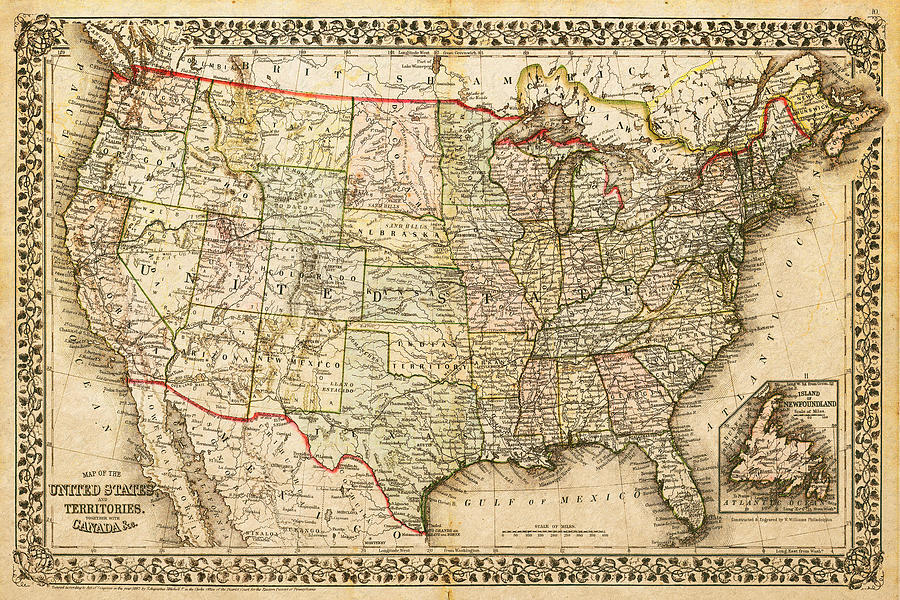 1860 Map Of The United States And Territories Together With Canada