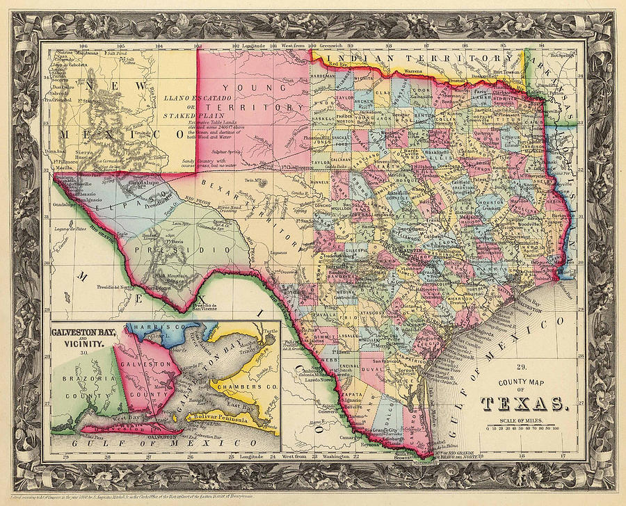 1860 Pre-Civil War County Map of Texas by S.A. Mitchell by Texas Map Store