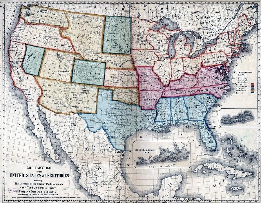 1861 Us Military Map Digital Art by Maciek Froncisz