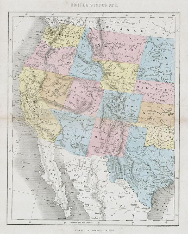 1864 Dower Map Of The Western United States by Paul Fearn