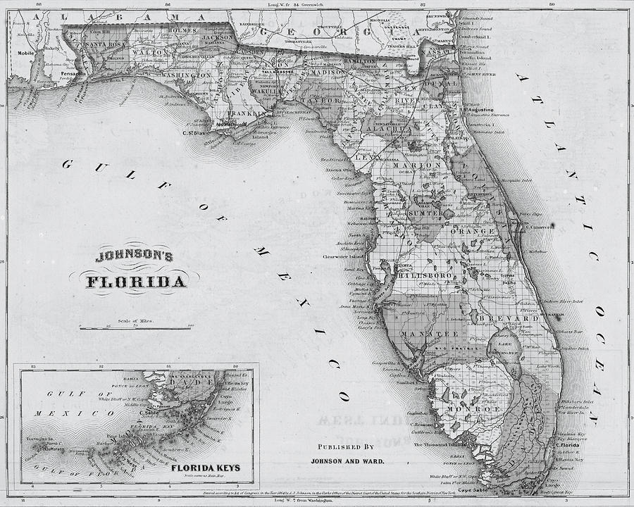 1864 Florida Map Black And White Photograph By Toby Mcguire