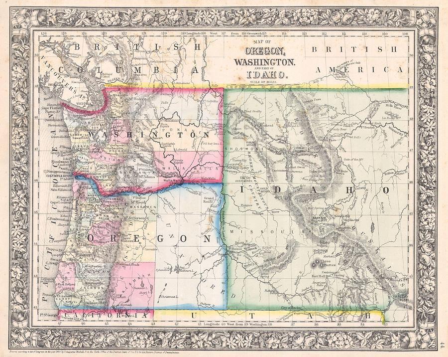 1864 Mitc Map Of Washington Oregon And Idaho by Paul Fearn Idaho Oregon Map on oregon road map, oregon great basin map, oregon capital city map, oregon trail through idaho, oregon st. louis map, oregon california map, oregon native american reservations map, oregon portland map, oregon nebraska map, oregon basalt gold, oregon state map, oregon colorado map, oregon canada map, oregon nez perce map, oregon albany map, oregon phoenix map, oregon salmon river map, oregon ohio map, oregon il map, oregon coast hiking trail map,