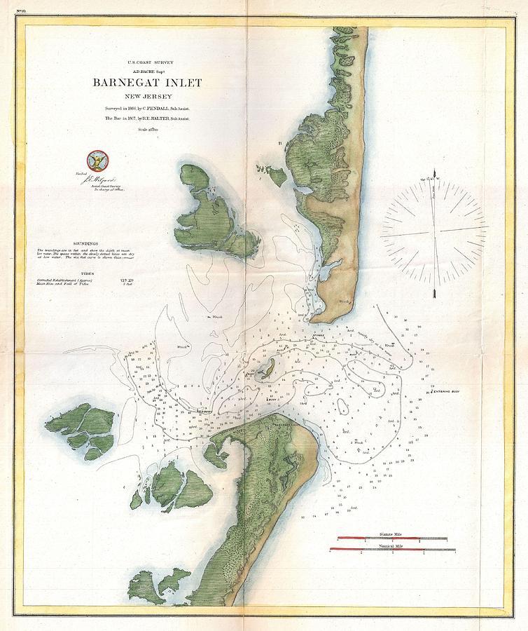 Us Coast Survey Map Of Barnegat Inlet Long Beach Island New - Us map 1865