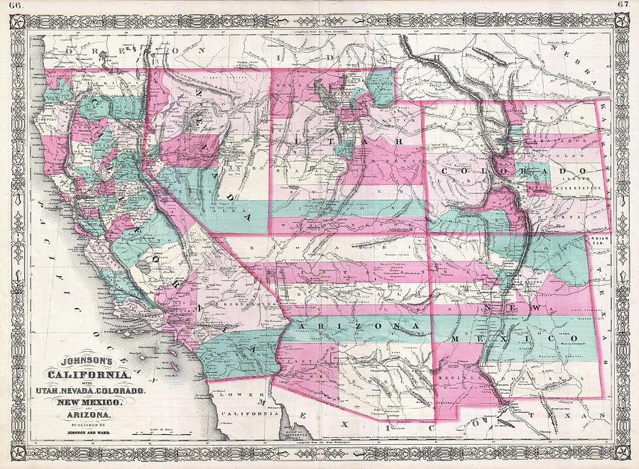 1866 Johnson Map Of California Colorado Arizona New Mexico Nevada And Utah  by Paul Fearn