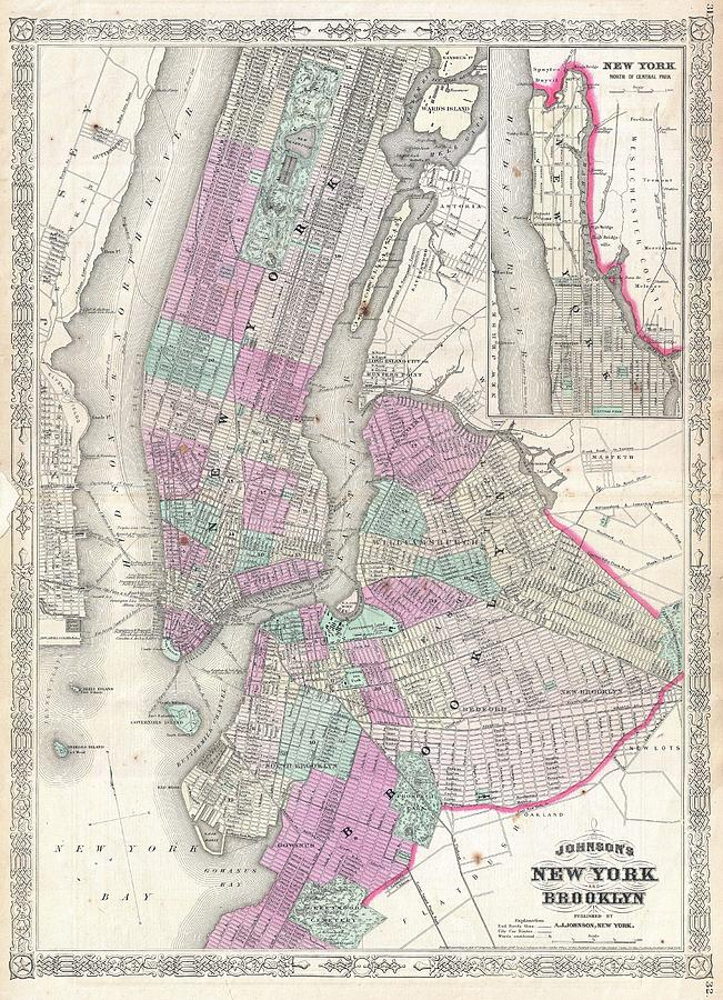 Map Of New York Brooklyn.1866 Johnson Map Of New York City And Brooklyn By Paul Fearn