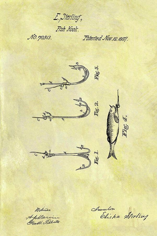 1867 Fishing Hook Patent Drawing