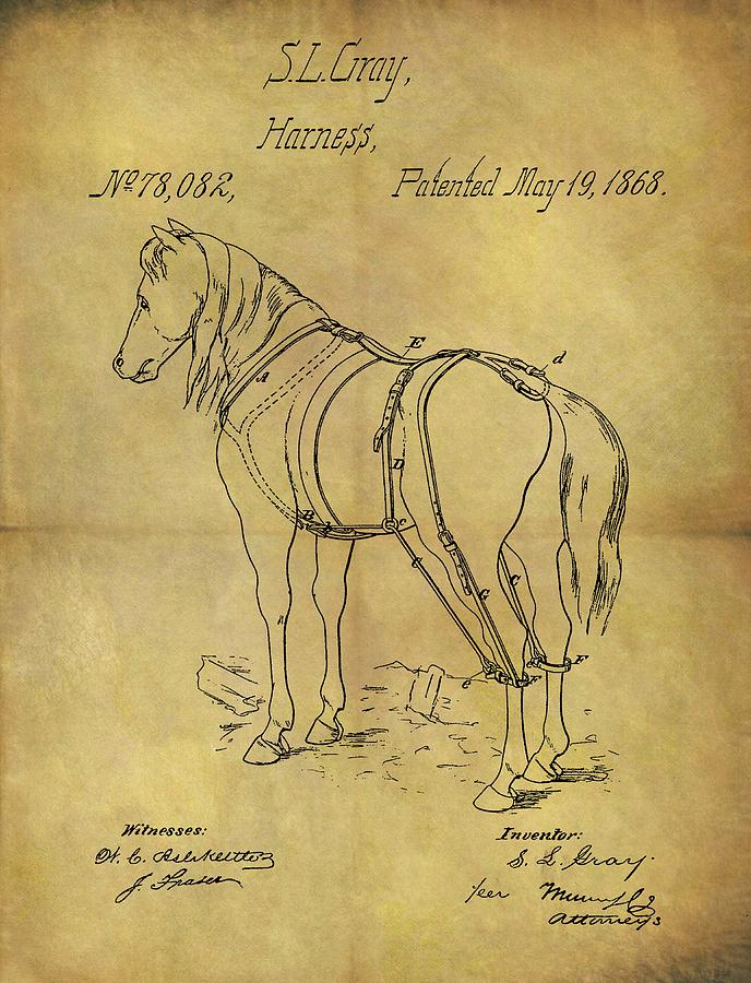 1868 Horse Harness Patent Drawing