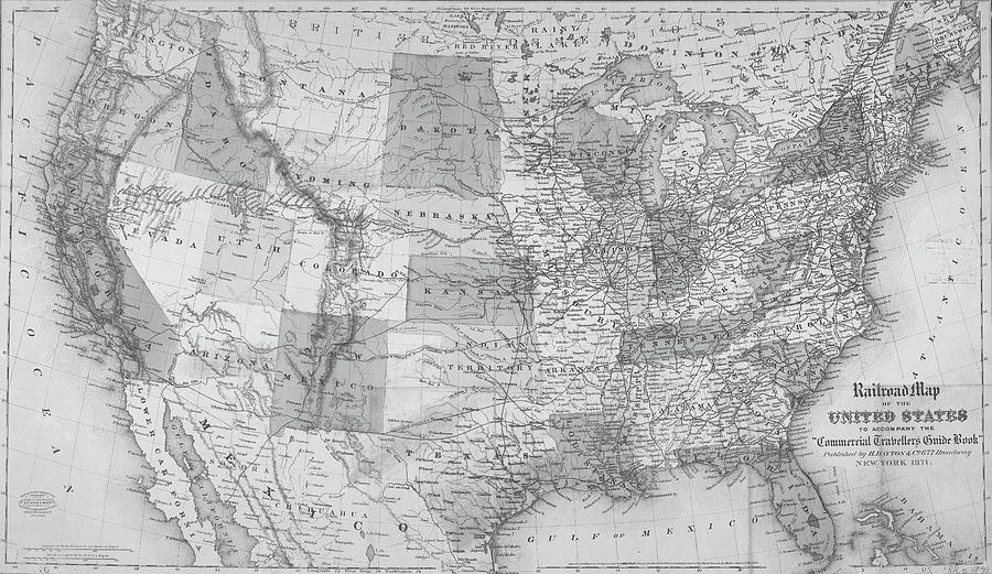1871 United States Railroad Map Usa Black And White