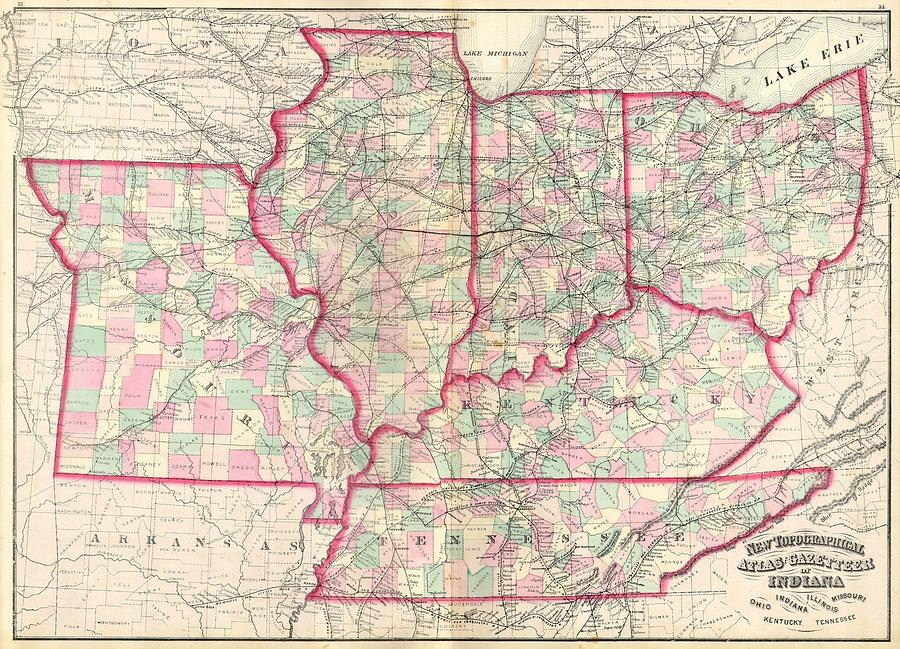 1873 Asher Adams Map Of The Midwest Ohio Indiana Illinois Missouri