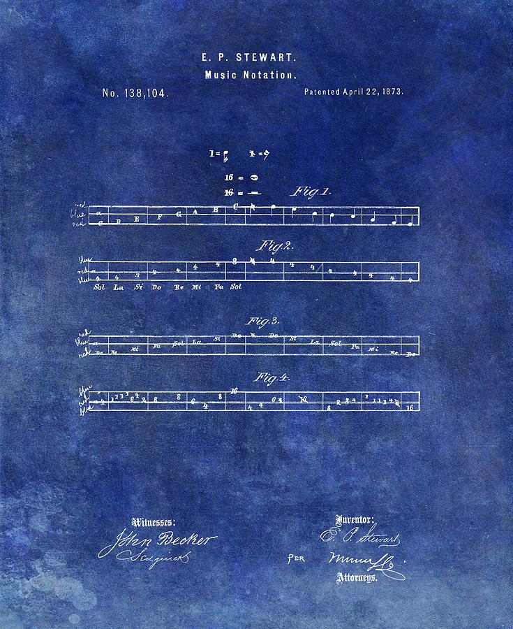 Musician Drawing - 1873 Musical Notation Patent by Dan Sproul