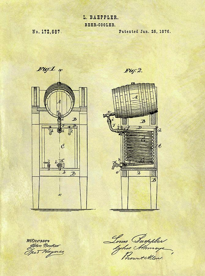 1876 Beer Cooler Patent Drawing