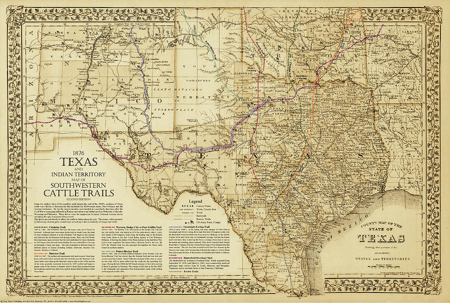 1876 Great Texas and Southwestern Cattle Trails Map by Texas Map Store