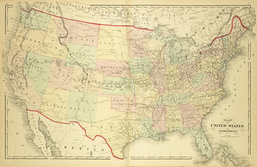 1876 Map Of The United States Color Digital Art By Toby McGuire