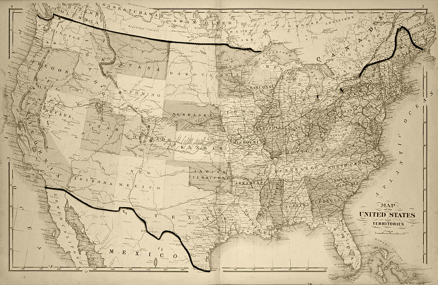 1876 Map Of The United States Sepia Digital Art By Toby