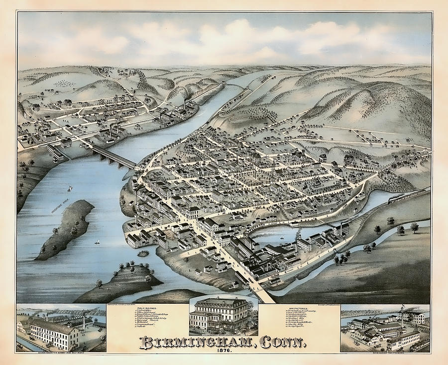 1876 Vintage Map Of Birmingham Connecticut
