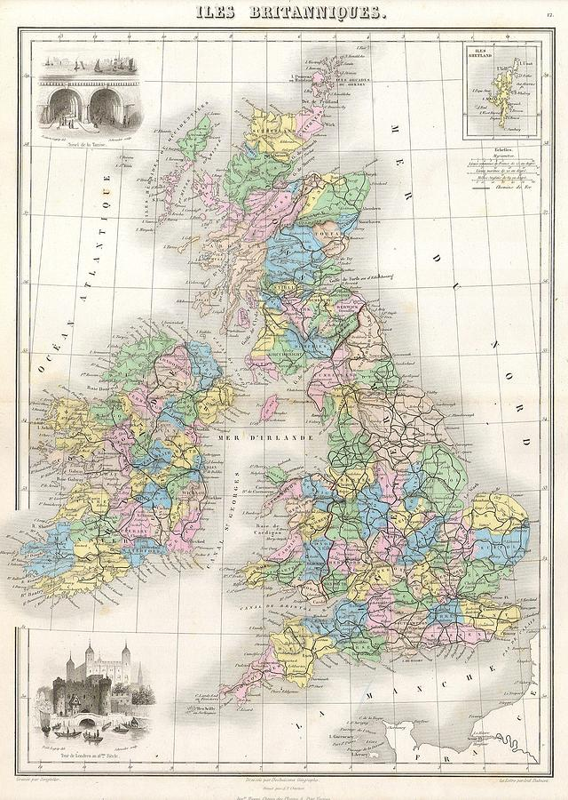 1878 Migeon Map Of The British Isles England Ireland Scotland 1878 By Paul Fearn