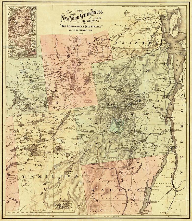 1879 Adirondacks Wilderness Map Upstate New York on new york map, pinckney chain of lakes map, great sacandaga lake map, binghamton map, ny map, boston map, watertown map, gunks map, cape cod map, philadelphia map, plattsburgh map, colorado scenic drives map, mount marcy trail map, essex chain lakes map, albany map, saranac lake map, hiking map, lake placid map, long island map, schenectady map,