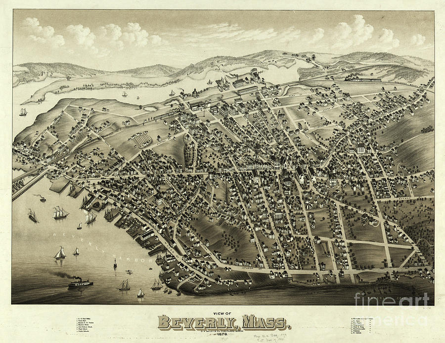 Beverly Drawing - 1879 Aerial Map Of Beverly Massachusetts by OH Bailey and Co