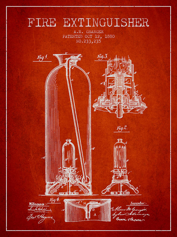 1880 Fire Extinguisher Patent - Red. Fire Extinguisher patent drawing from  1800 ... a9b81748c