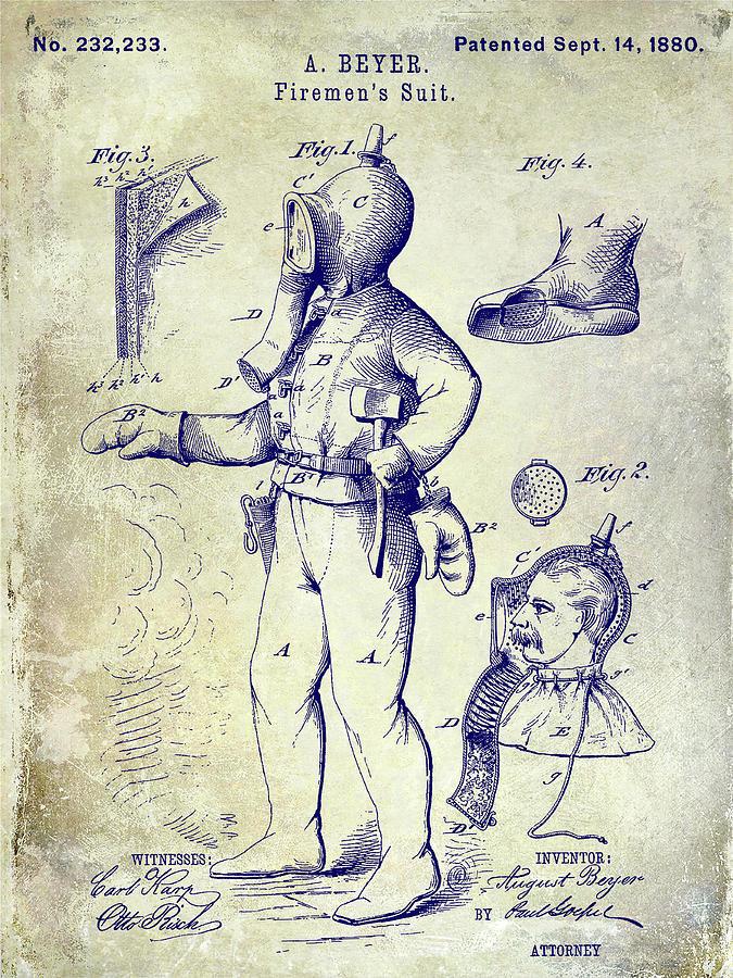 Fireman Suit Photograph - 1880 Fireman Suite Patent by Jon Neidert