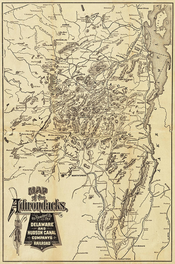 Map Of Upstate New York.1880 Map Of The Adirondacks Railroad Upstate New York