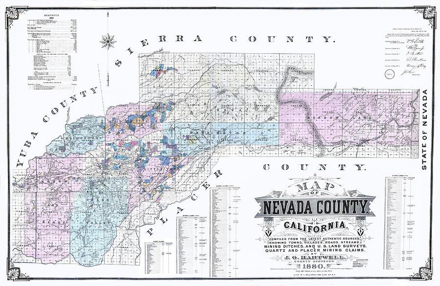 1880 Nevada County Mining Claim Map Digital Art By Lisa Redfern
