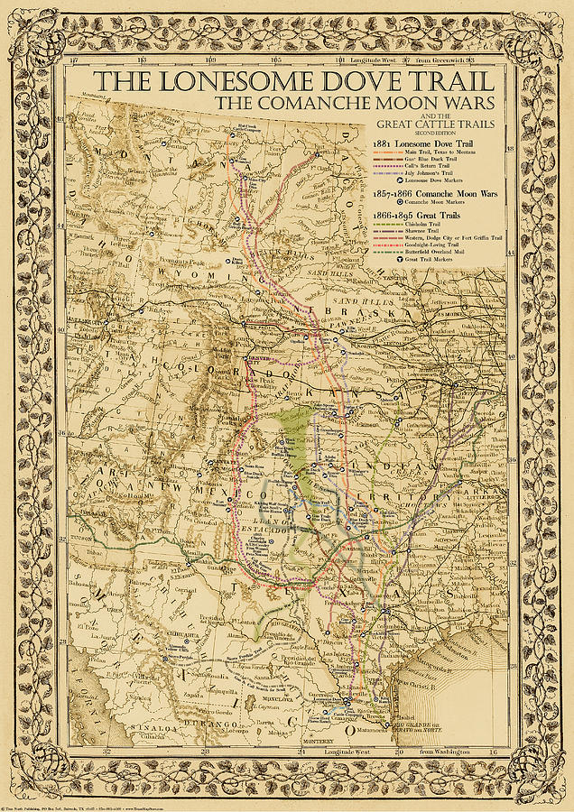 1881 Lonesome Dove Map by Texas Map Store