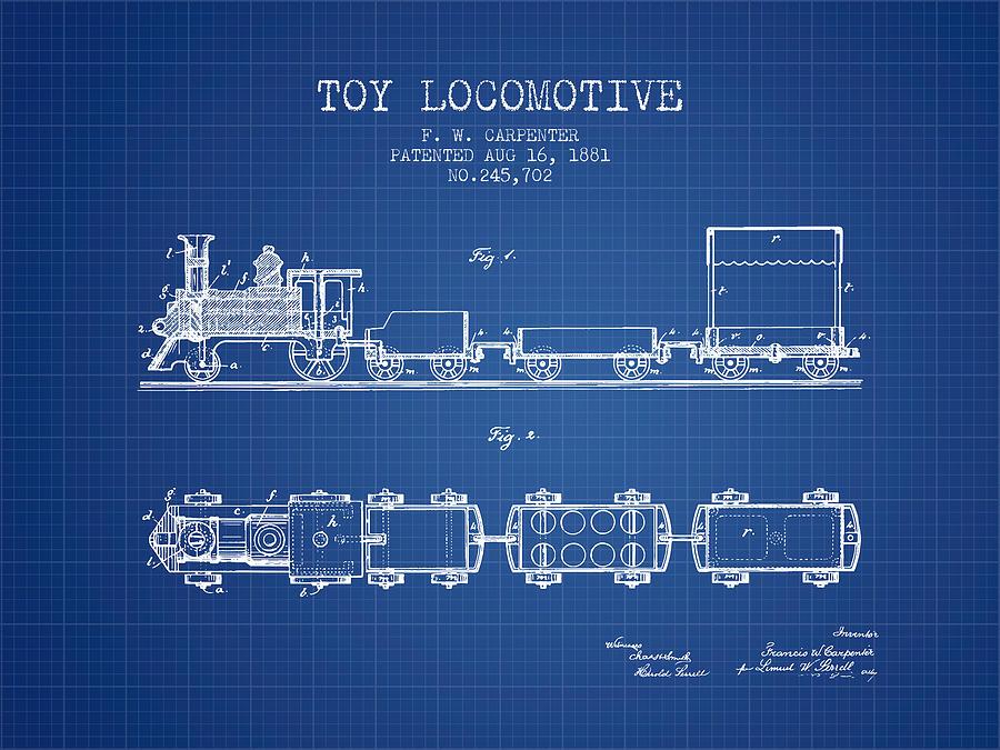 1881 Toy Locomotive Patent - Blueprint Digital Art