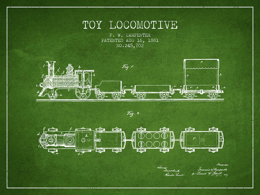 1881 Toy Locomotive Patent - Green Digital Art