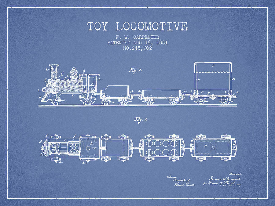 1881 Toy Locomotive Patent - Light Blue Digital Art