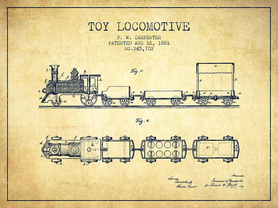 1881 Toy Locomotive Patent - Vintage Digital Art