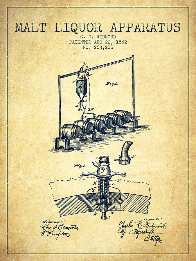 1882 Malt Liquor Apparatus Patent Vintage By Aged Pixel