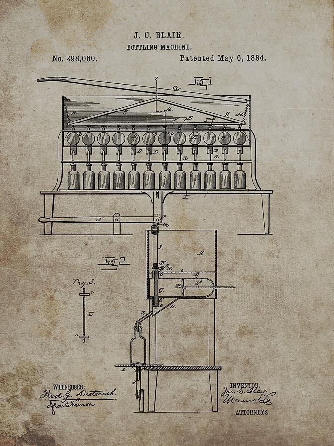 1884 Bottling Machine Patent Drawing