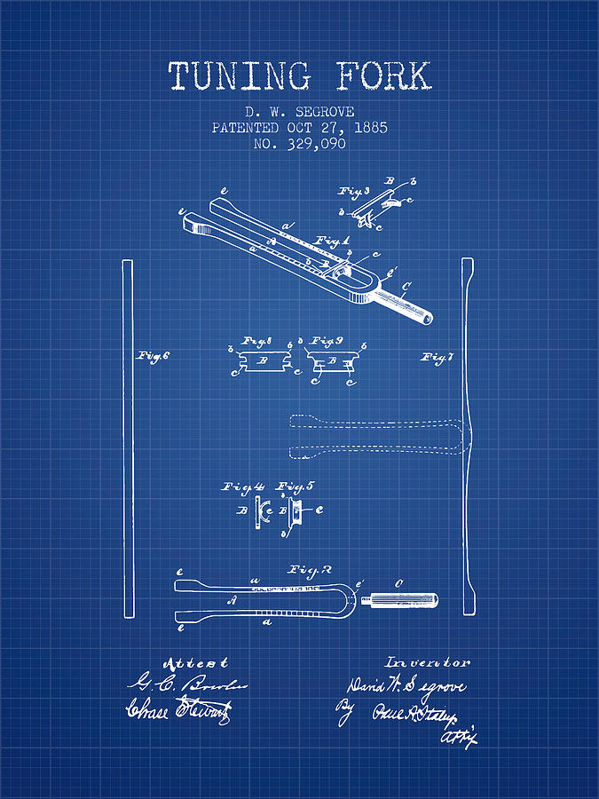 1885 Tuning Fork Patent - Blueprint Digital Art