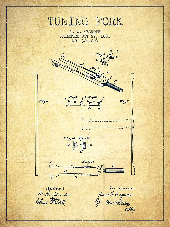1885 Tuning Fork Patent - Vintage Digital Art