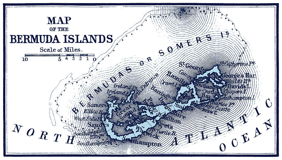Bermuda Islands Map Painting By Historic Image - Bermuda islands map