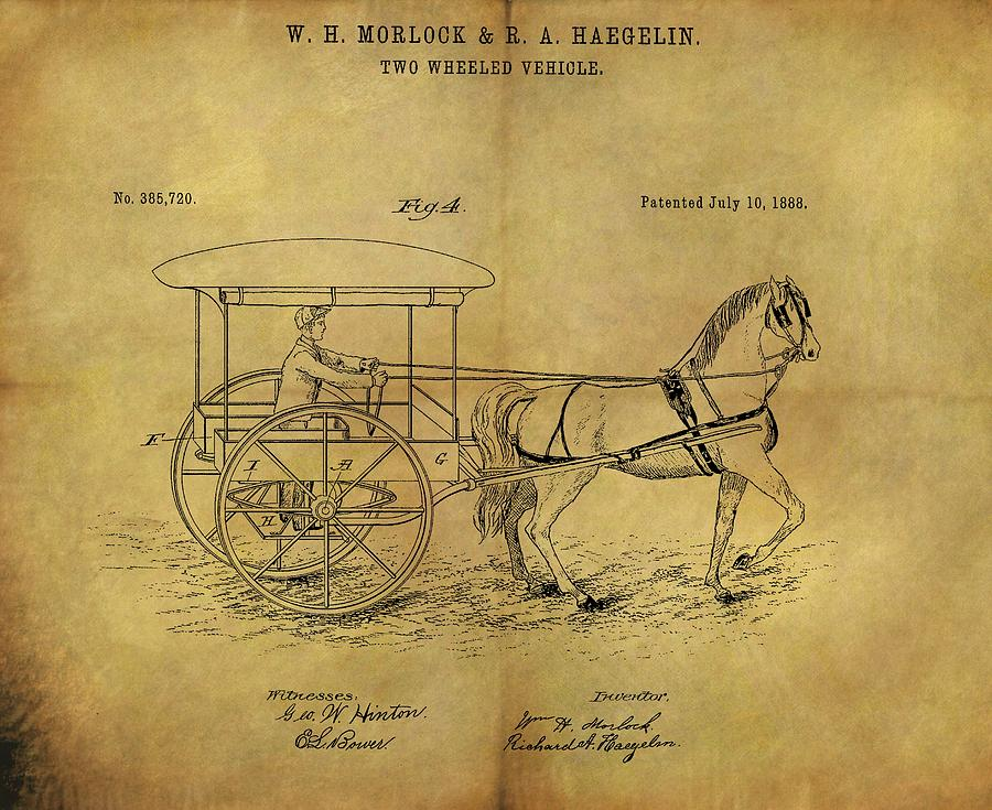 1888 Horse Carriage Patent Drawing