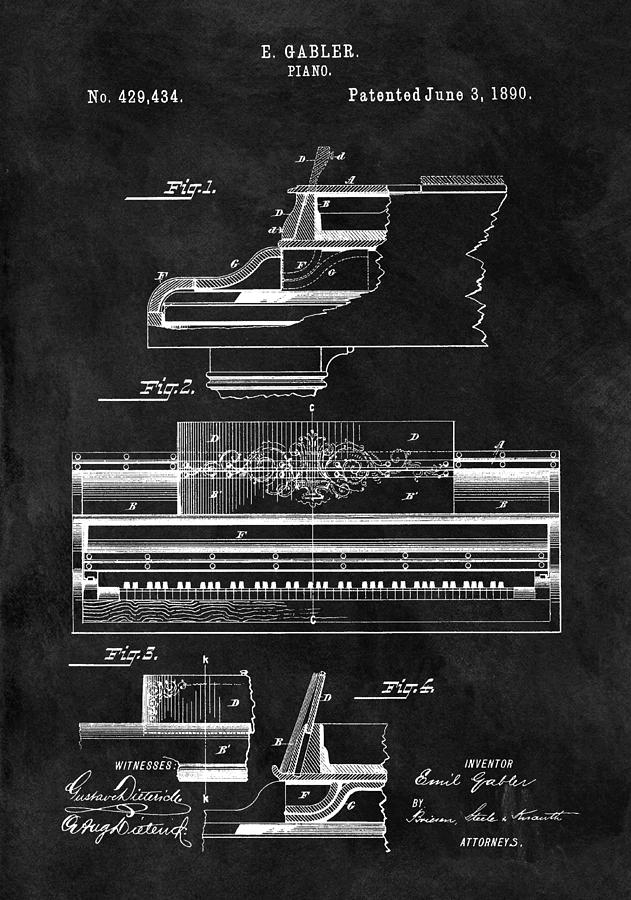 1890 Grand Piano Patent Drawing