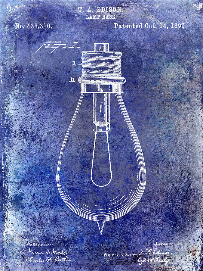Thomas Edison Photograph - 1890 Light Bulb Patent Blue by Jon Neidert