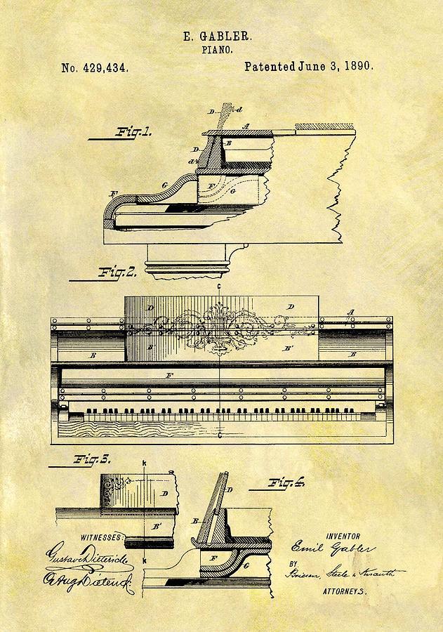 1890 Piano Patent Drawing