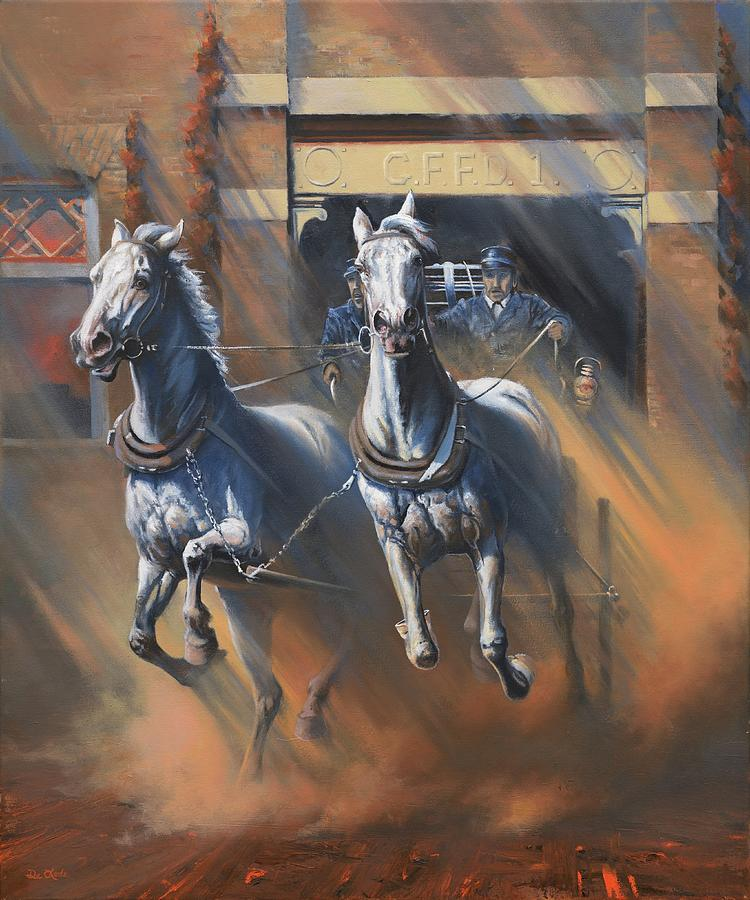 Fire Horses Painting - 1890s First Responders by Mia DeLode