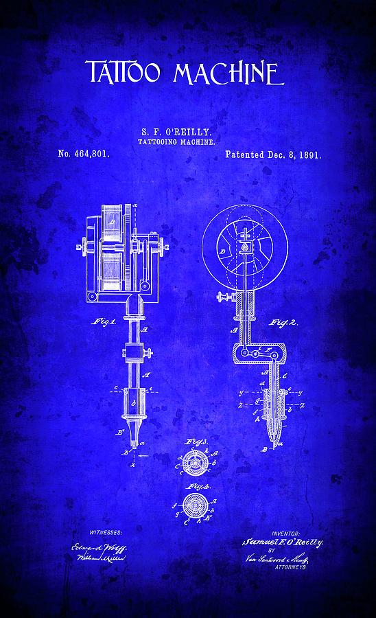 1891 tattoo machine patent blueprint digital art by daniel hagerman patent digital art 1891 tattoo machine patent blueprint by daniel hagerman malvernweather Gallery