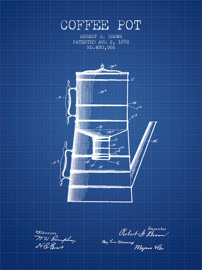 1892 coffee pot patent blueprint digital art by aged pixel coffee digital art 1892 coffee pot patent blueprint by aged pixel malvernweather