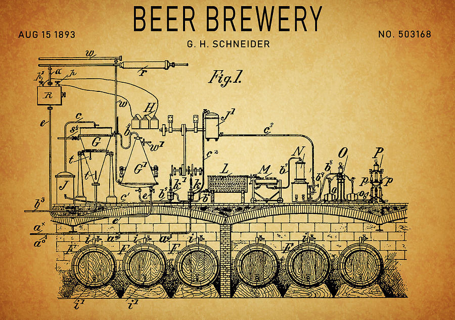1893 Beer Brewery Patent Drawing