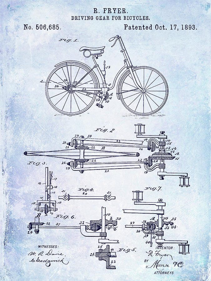 1893 Digital Art - 1893 Bicycle Patent Blueprint by Jon Neidert