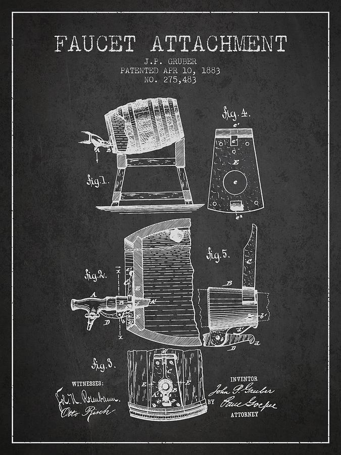 1893 Faucet Attachment Patent - Charcoal Digital Art